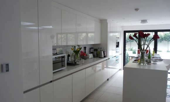 Complete refurbishment light white kitchen