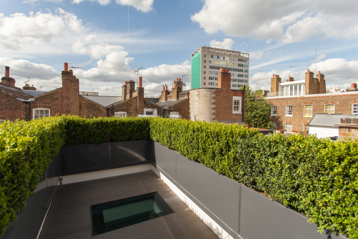 Flats with rooflight terrace and hedge