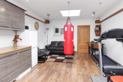 Gym at home - treadmill and punchbag