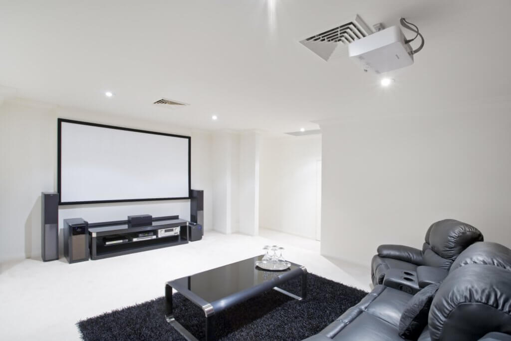 Basement movie room black and white