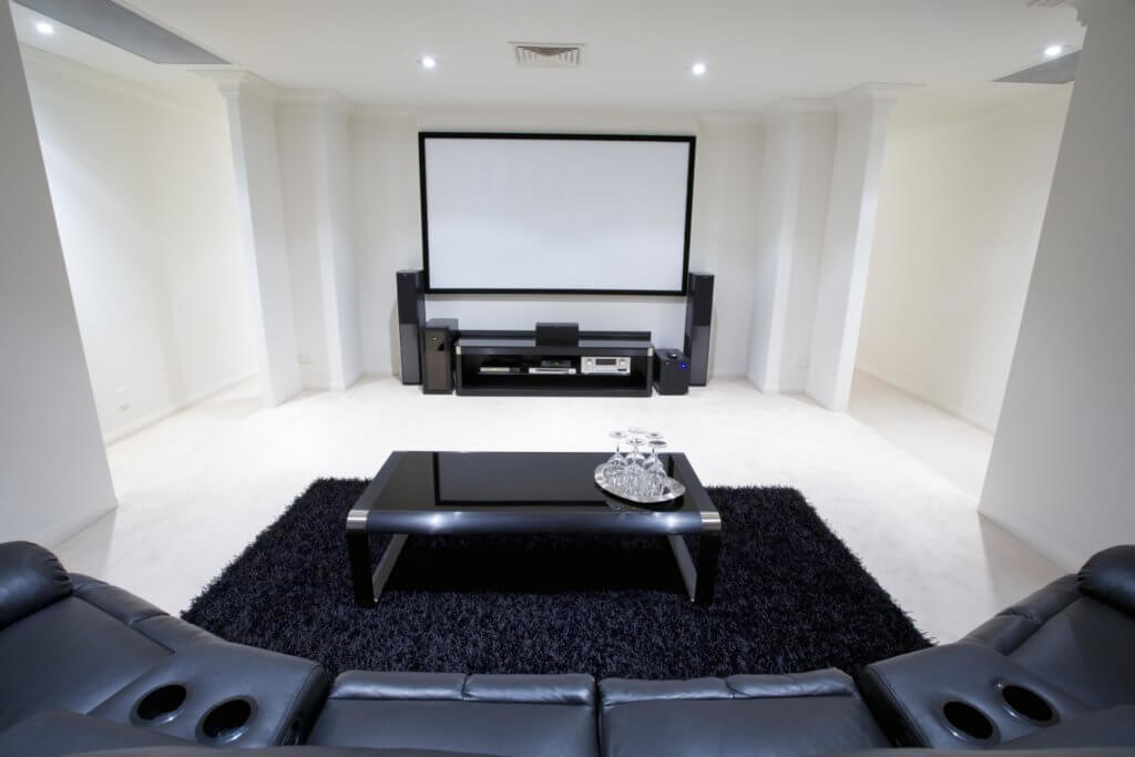 Movie room in basement